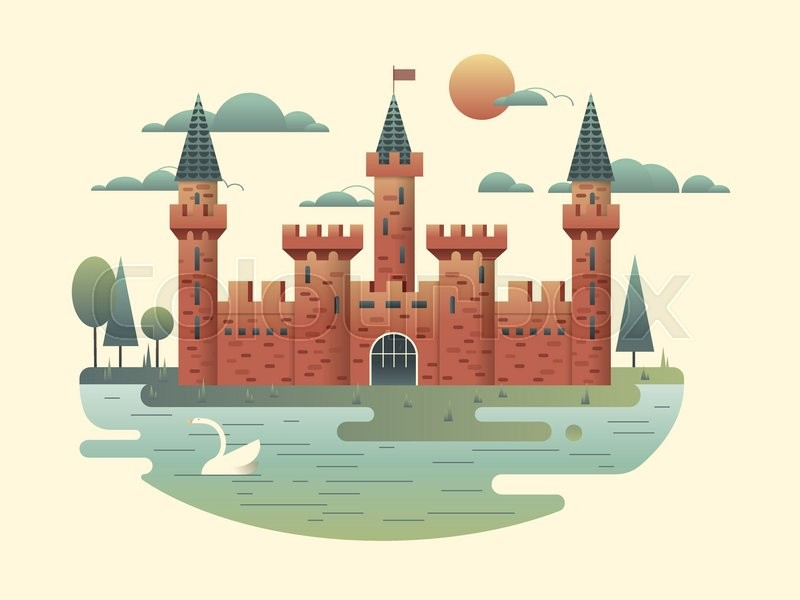 Castle Design Flat. Building Medieval With Tower, Fortress Architecture,  Palace Of Kingdom, Vector Illustration, Vector