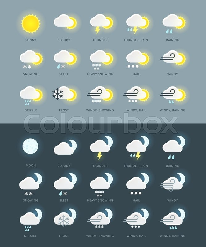 Flat Colored Weather Icons Collection With Day And Night Variations