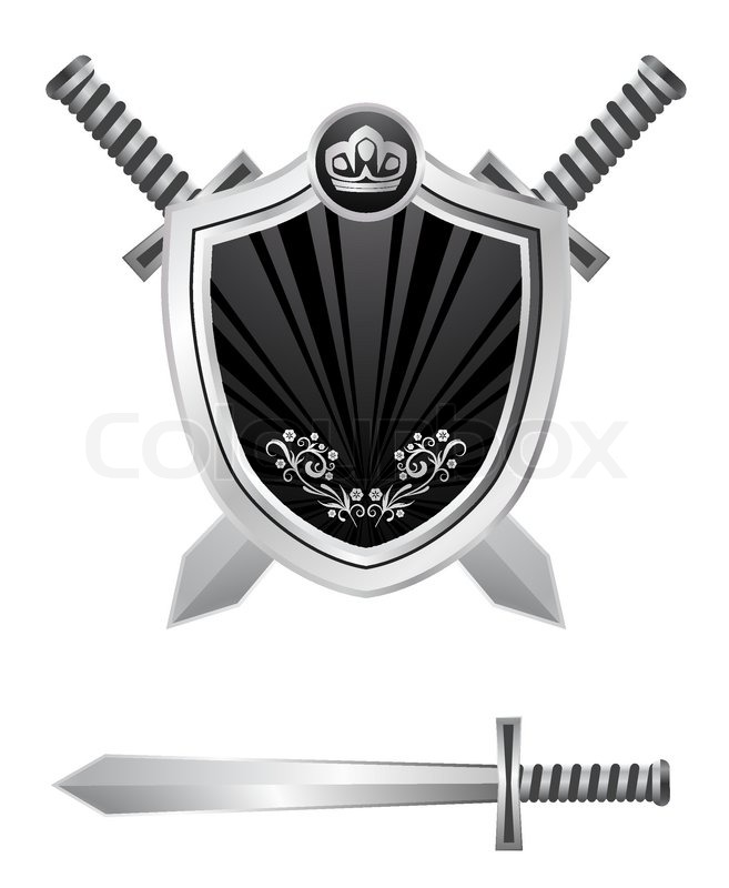 Shield With Swords Design Stock Vector Colourbox
