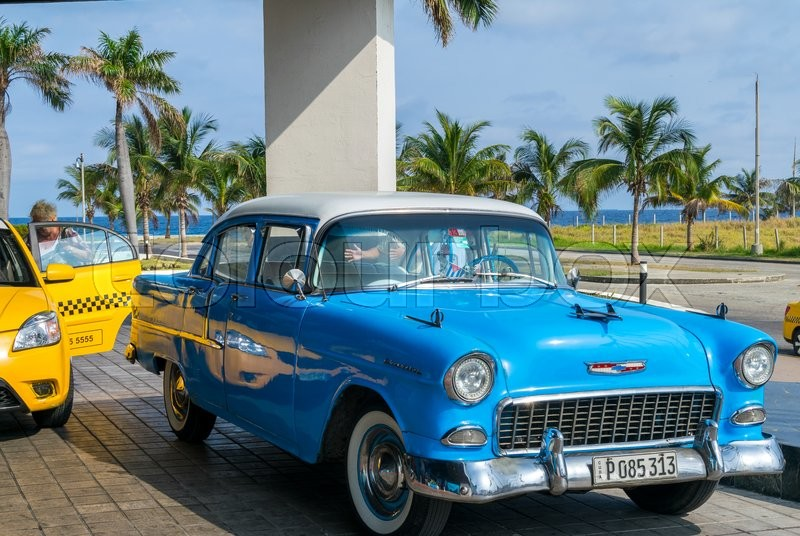 havana cuba april 7 2016 old classic american cars rides in city streets before a new law. Black Bedroom Furniture Sets. Home Design Ideas