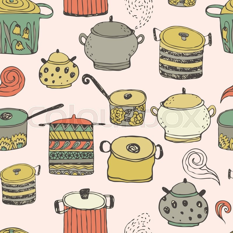 cute cooking pots and lettering seamless vector pattern