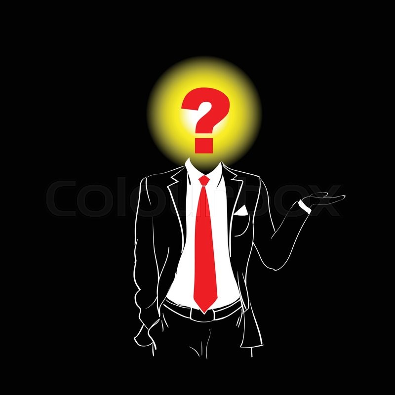 Man Silhouette Suit Red Tie Question Mark Sign Head Black ...