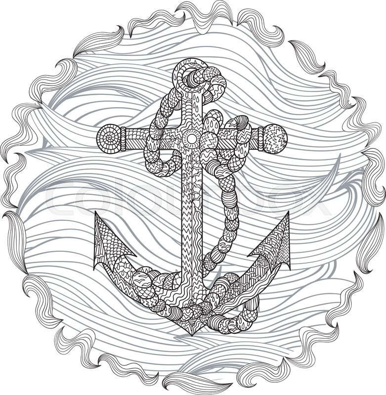 Anchor Tattoo Coloring Pages Hand Drawn Illustration Of An And