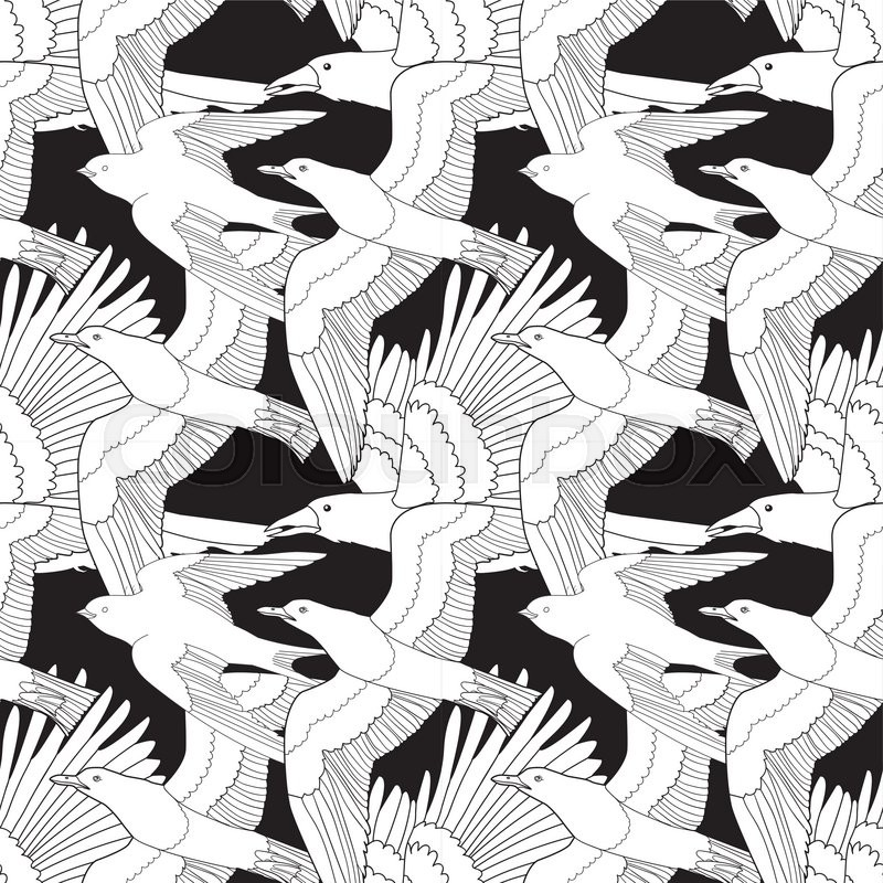 Seamless Pattern With Flying Ravenseagull And Swallow Anti Stress Coloring Page Birds Black White Hand Drawn BirdTile Texture Vector Illustration