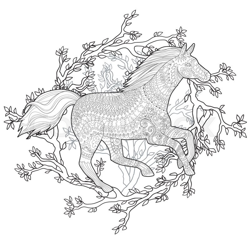 adult coloring page for antistress art therapy running horse in zentangle style template for t shirt tattoo poster or cover vector illustration - Running Horse Coloring Pages