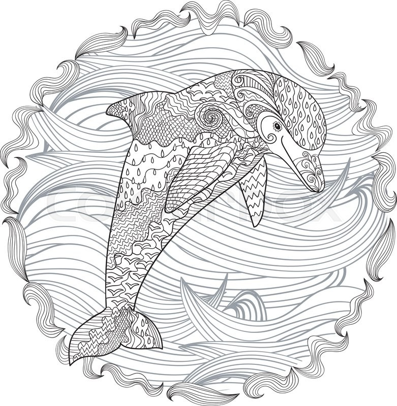 Happy dolphin with high details. Adult antistress coloring page ...