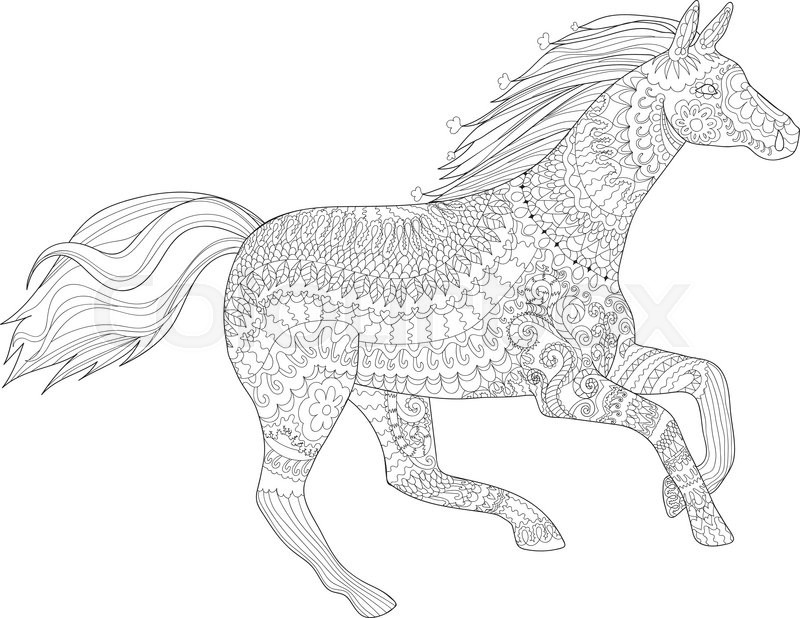 adult coloring page for antistress art therapy running horse in zentangle style template for t shirt tattoo poster or cover vector illustration