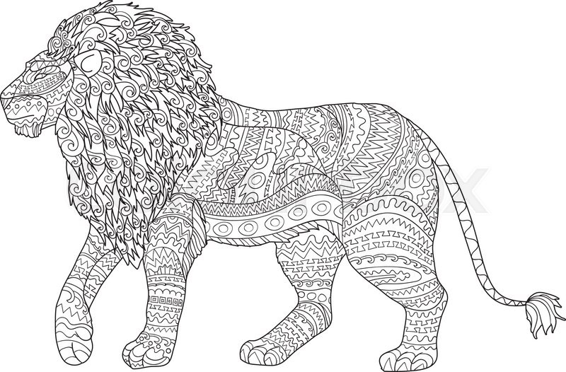 Adult Coloring Page For Antistress Art Therapy Hand Drawn Lion In Zentangle Style Zendoodle Ornamental Outline Template T Shirt Tattoo