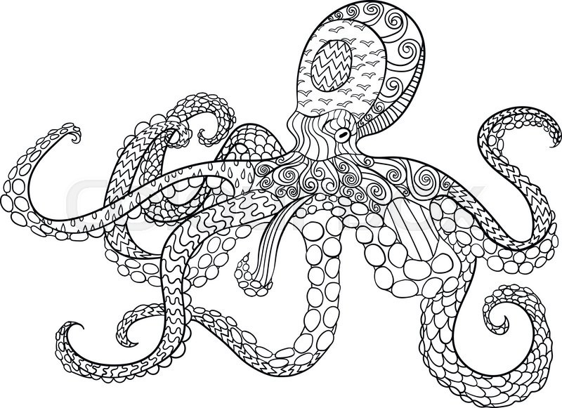 Octopus With High Details. Adult Antistress Coloring Page. Black White Hand  Drawn Doodle Oceanic Animal For Art Therapy. Sketch For Tattoo, Poster,  Print, ...