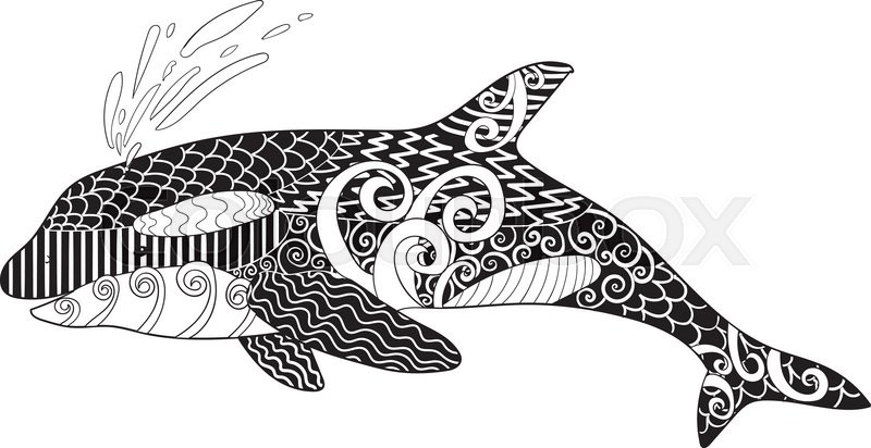 Killer whale with high details. Adult antistress coloring page with ...