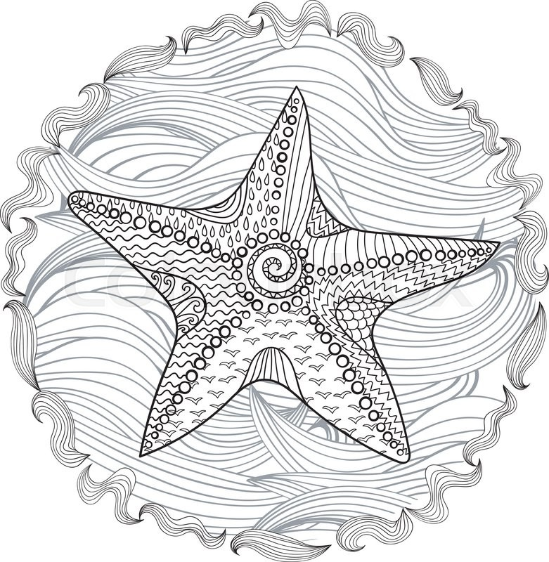 Starfish With High Details Adult Antistress Coloring Page