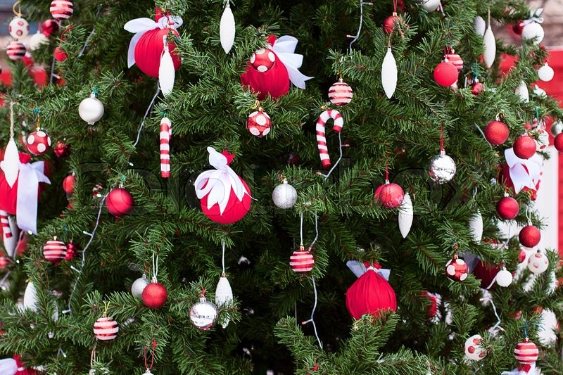 Christmas themes, Christmas tree toys Christmas tree holiday festive Christmas tree on all hung in garlands balls Candy Toys, stock photo