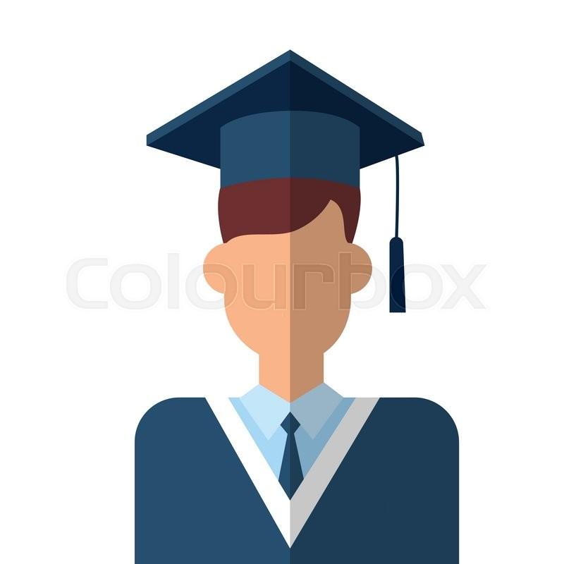Graduate Student Icon Graduation Gown Cap Flat Vector Illustration ...