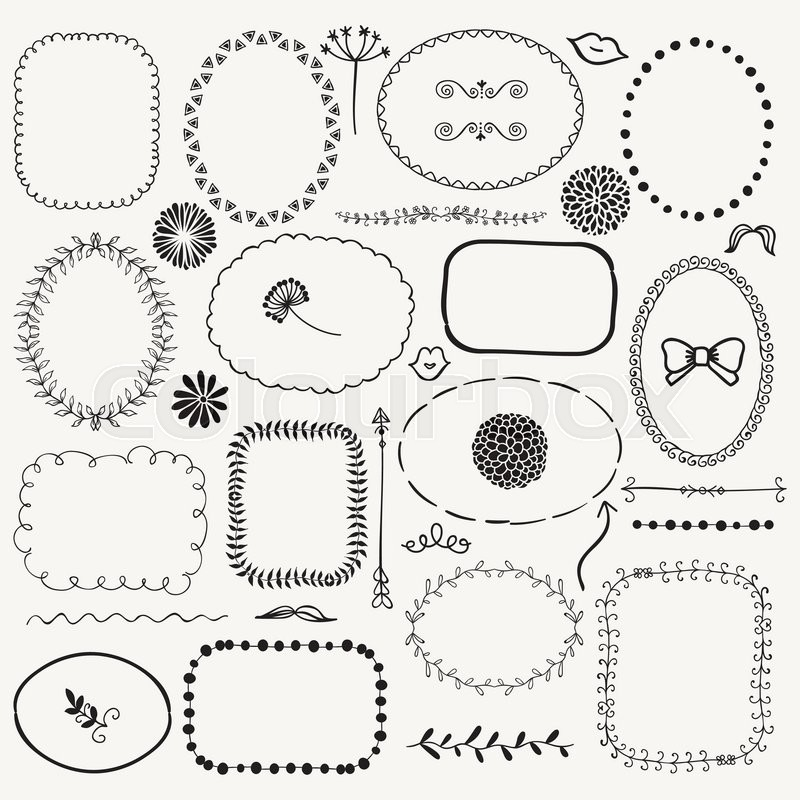 Set Of Decorative Black Hand Sketched Rustic Floral Doodle Frames Borders Dividers Design Elements Drawing Vector Illustration