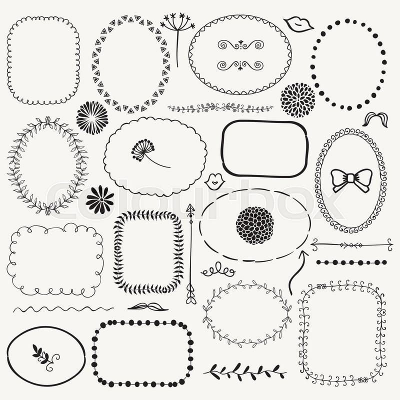 Set Of Black Flower Design Elements Vector Illustration: Set Of Decorative Black Hand Sketched ...