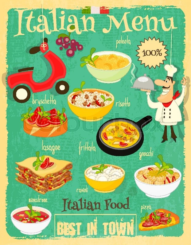 Italian food menu card with traditional meal retro - Cuisine designer italien ...