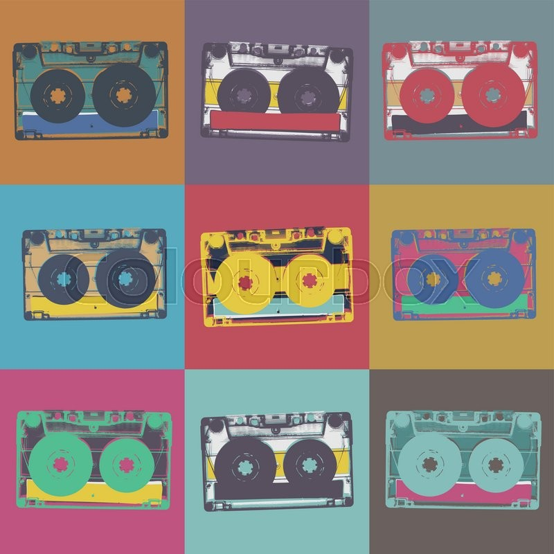 Audiocassette Retro Popart Music Seamless Background