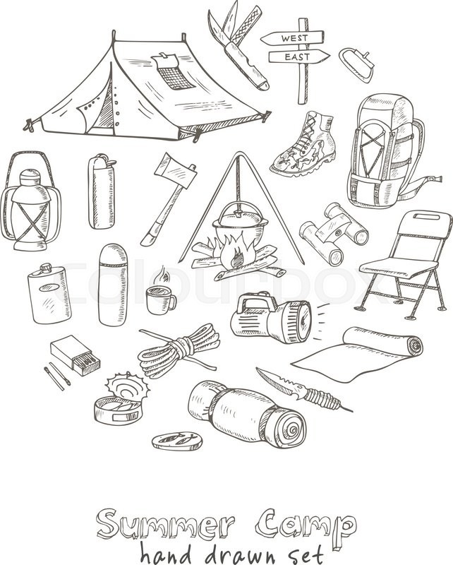 Set Of Hand Drawn Camping Equipment Drawings Sketches