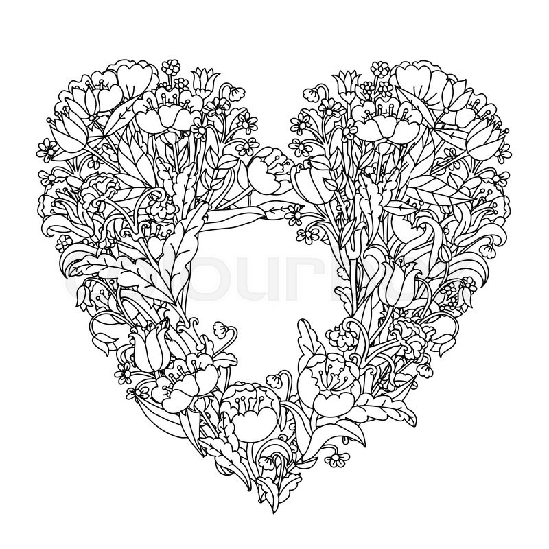 Black Flower Heart Shape Illustration Tattoo On White: Hand Drawin Uncolored Elements. Black ...