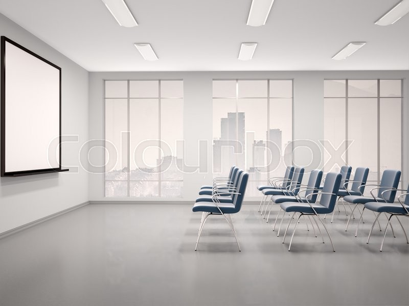 3d illustration of empty conference room with a whiteboard for seminar, stock photo