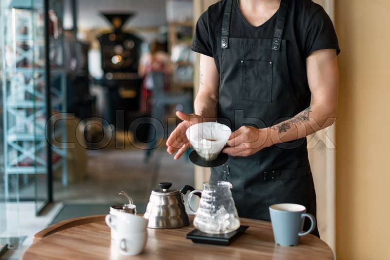 Barista Making Kemeks Coffee Man Pours Boiling Water Into