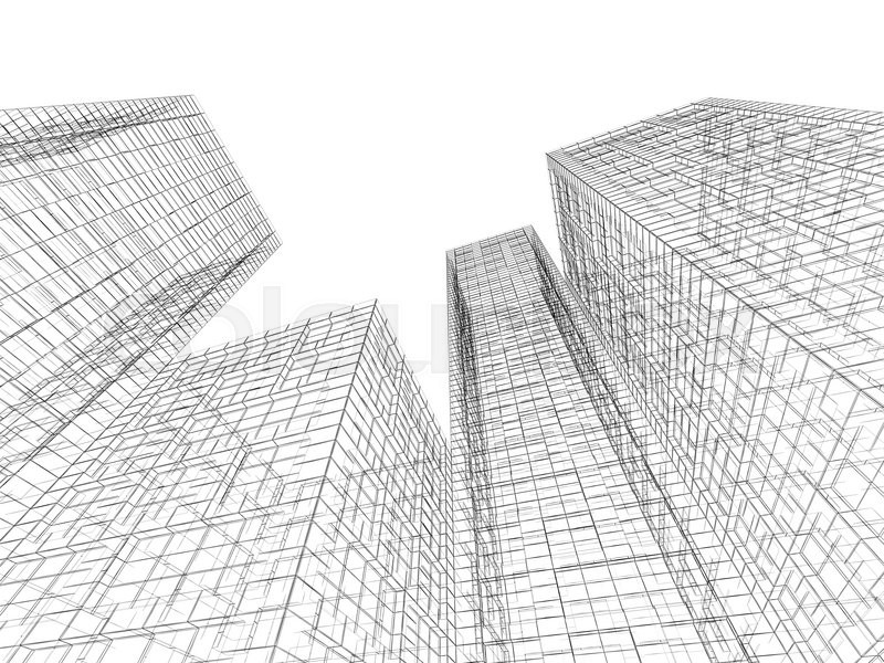 abstract digital graphic background tall buildings perspective view black wire frame lines isolated on white background 3d render illustration stock abstract 3d office building