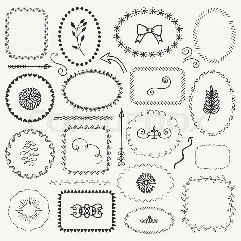 Set Of Decorative Black Hand Sketched Rustic Floral Doodle Frames Borders Dividers Design Elements Drawing Vector Illustration