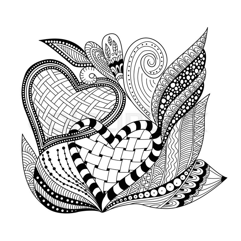 Background With Ornamental Two Heart Doodle And Zentangle Style Wallpaper Decorative Element Design For Adult Coloring Book Page