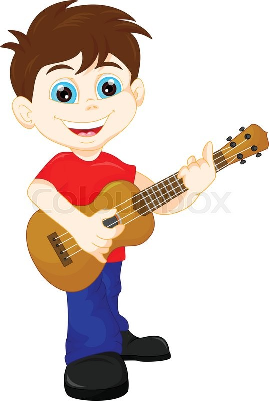 Vector Illustration Of Cute Boy Playing Guitar