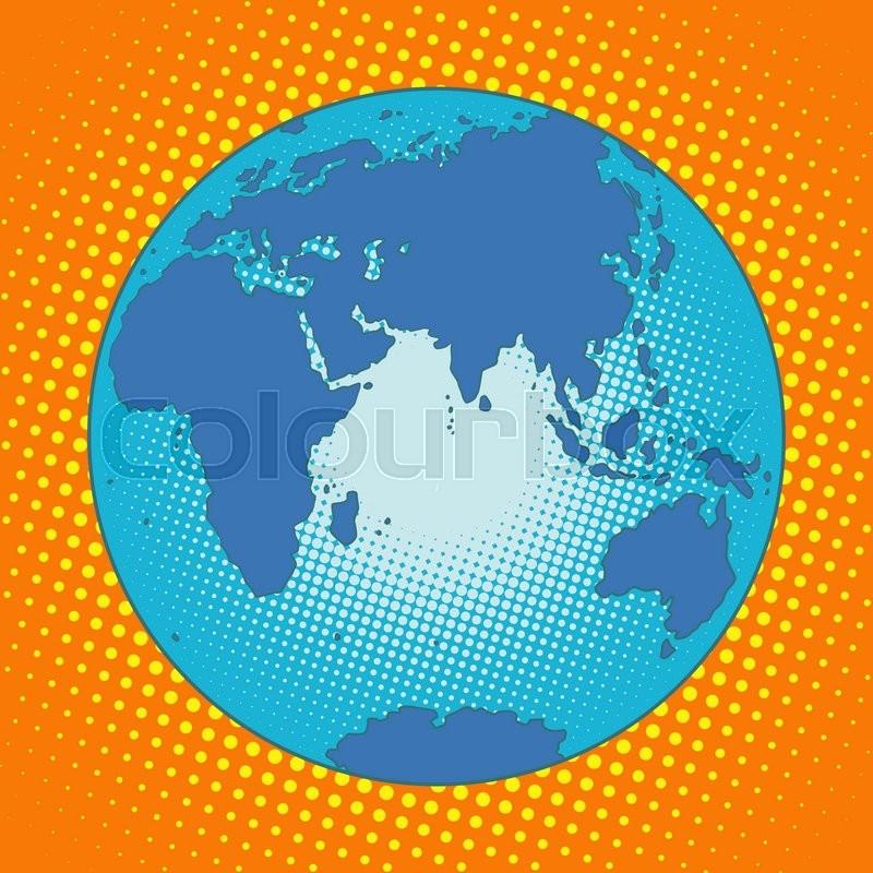 earth eurasia africa australia antarctica asia europe pop art retro style the globe map eastern hemisphere blue planet stock vector colourbox
