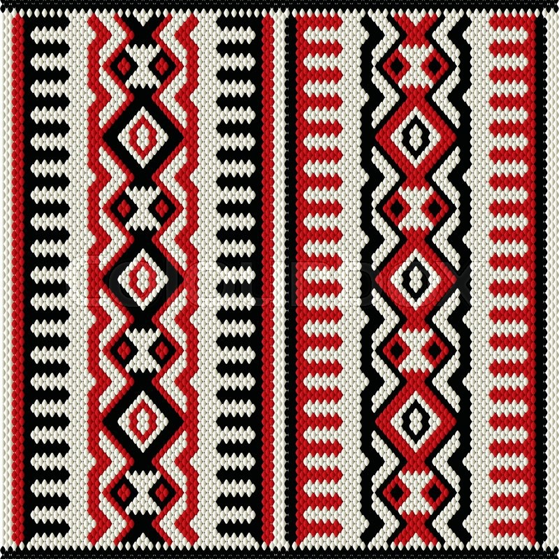 A Red White And Black Vintage Traditional Weaving Motif