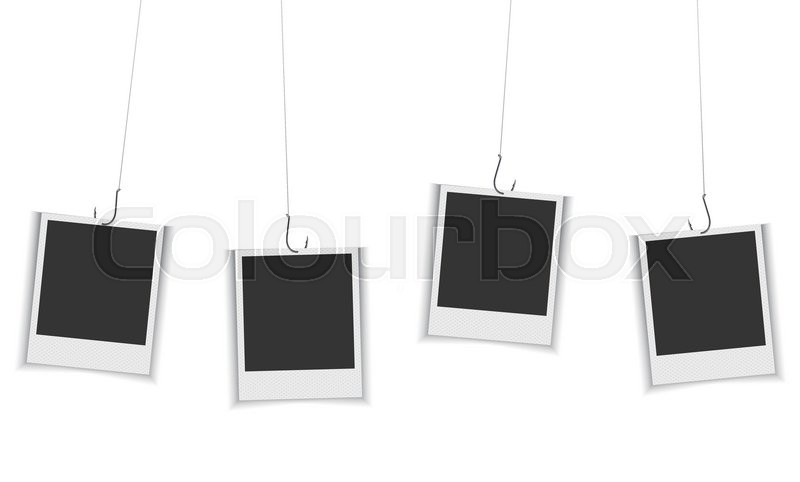 blank photo frames hanging on fishing hook vector eps 10 format