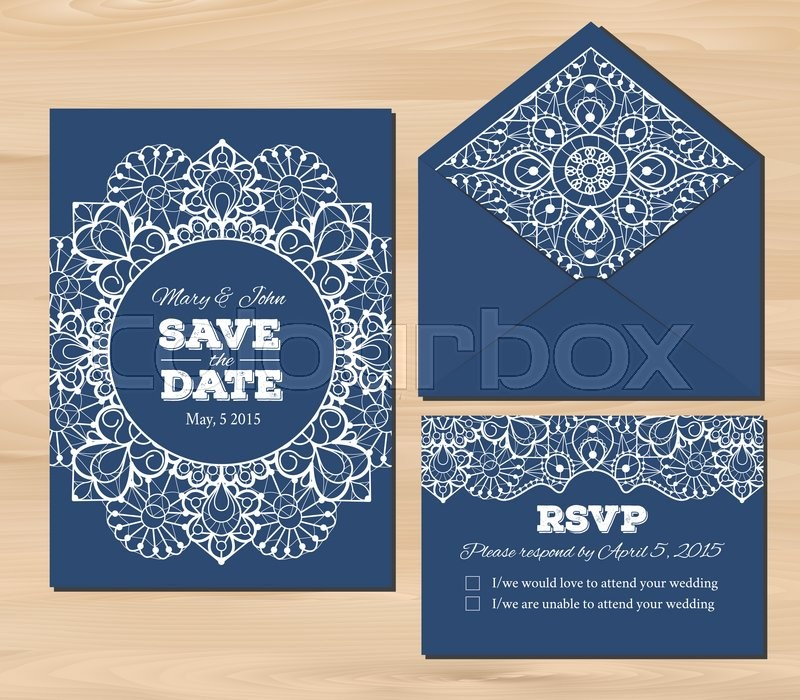 Wedding set with lace elements save the date invitation rsvp card save the date invitation rsvp card envelope template on a wooden background seamless illustrator swatch for background included maxwellsz