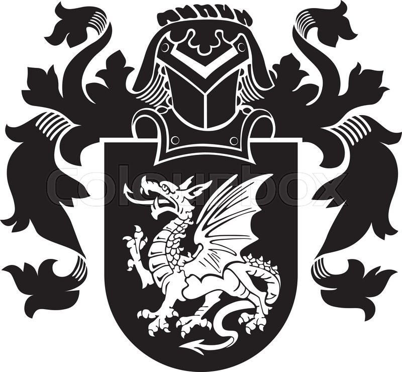 Vector Image Of Black Medieval Heraldic Silhouette Executed In