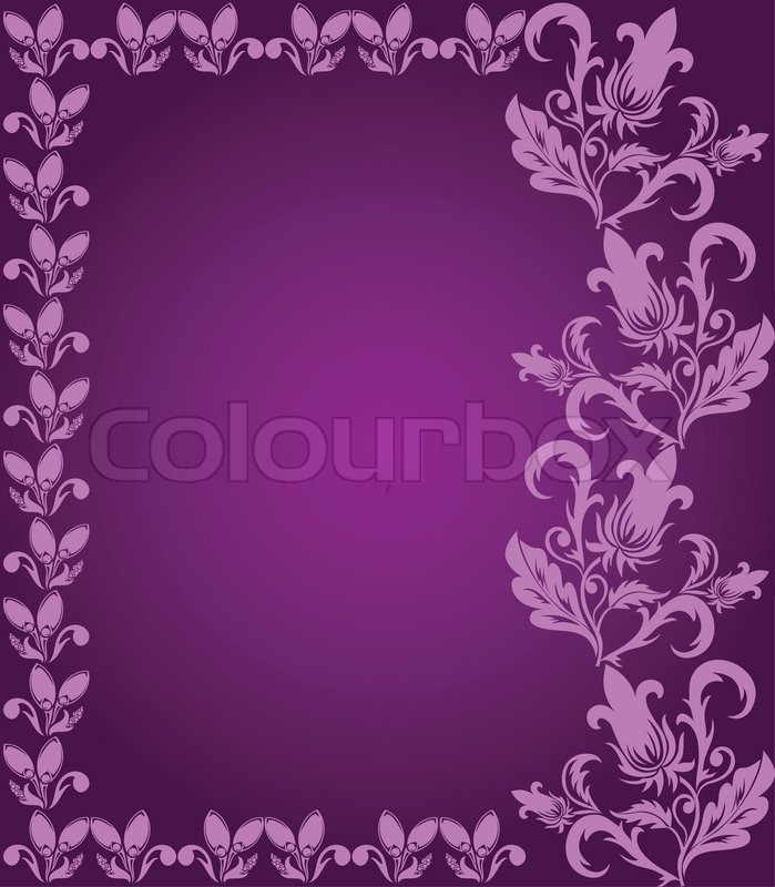 Purple Background With Pink Floral Stock Vector Colourbox