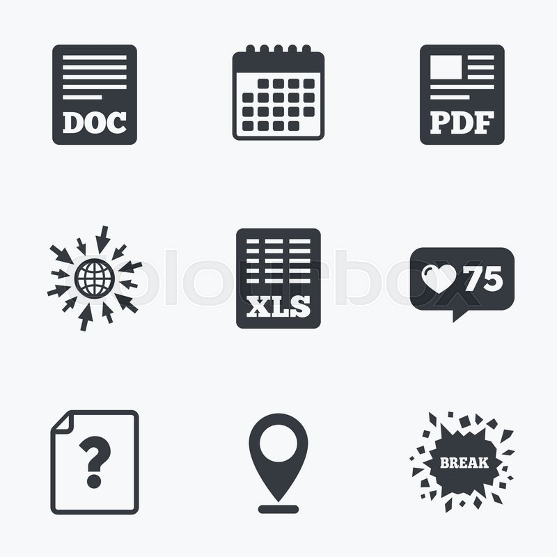 Calendar Like Counter And Go To Web Icons File Document And