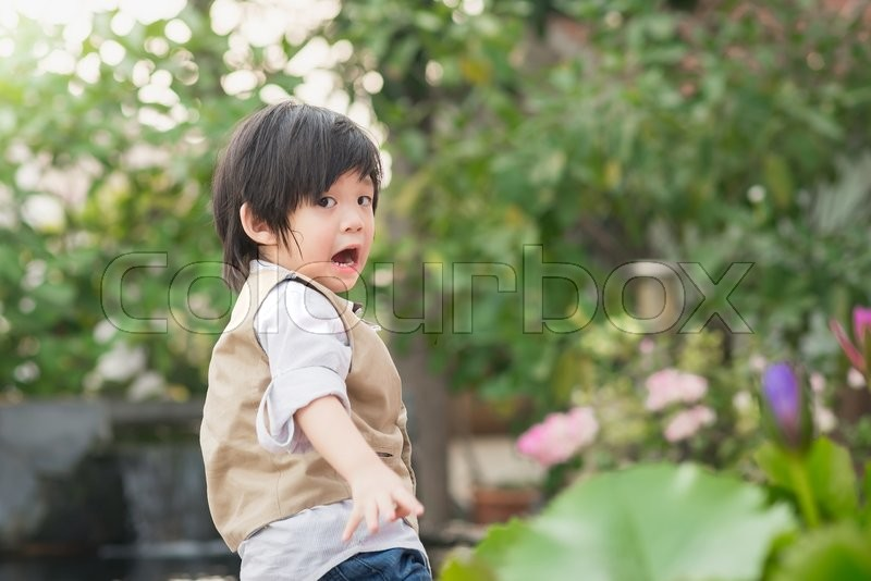 Excited face of a small asian boy outdoors, stock photo