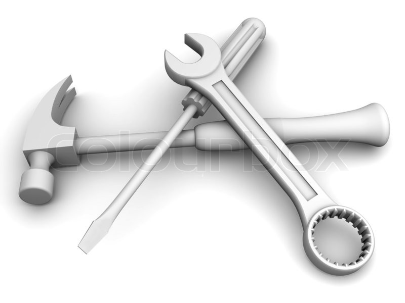 Spanner Screwdriver Hammer Tools 3d Stock Photo