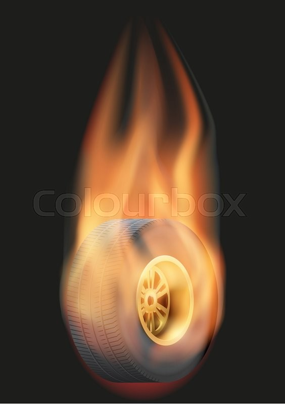 Stock image of 'Burning Race tire wheel with a tail of flame. Vector illustration Isolated on background. '