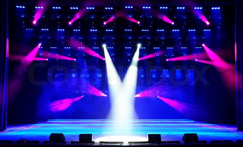 Illuminated Empty Concert Stage With Blue Red And White