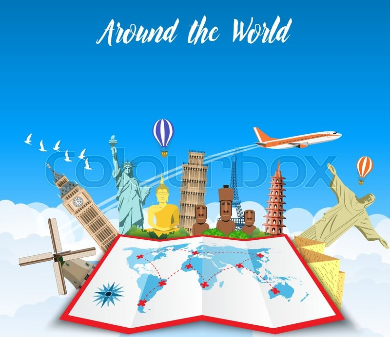 Famous monuments of the world grouped together on a map World – Map For Travel Planning