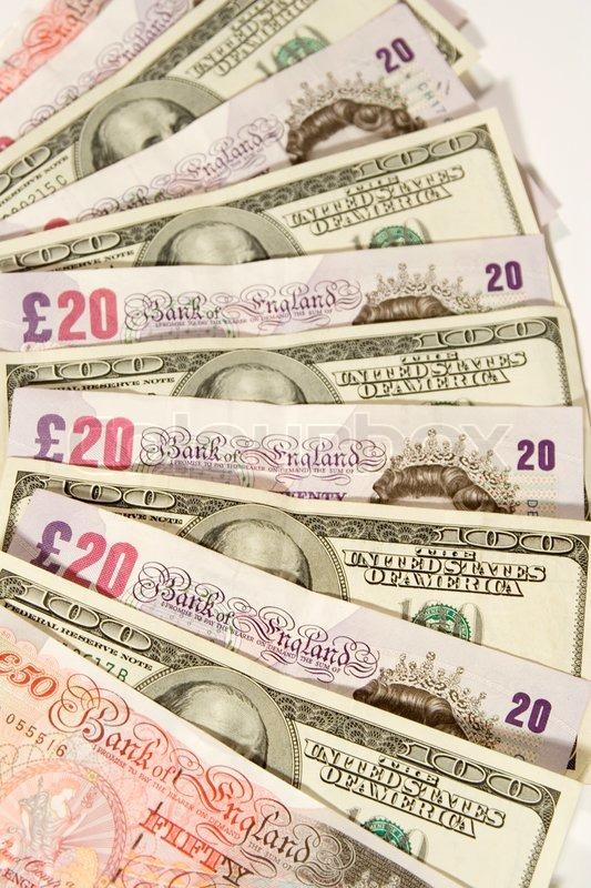 Twenty- pundsedler , 50 -pund noter og 1 til 100 dollarsedler | stock foto | Colourbox