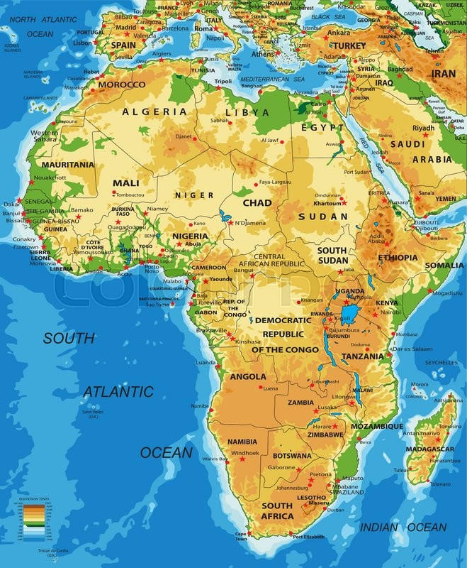 Highly detailed physical map of Africa,in vector format,with all the ...