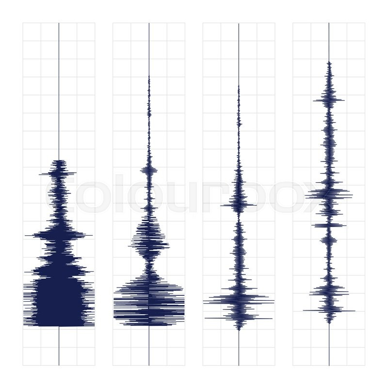 seismogram of different seismic activity record vector illustration