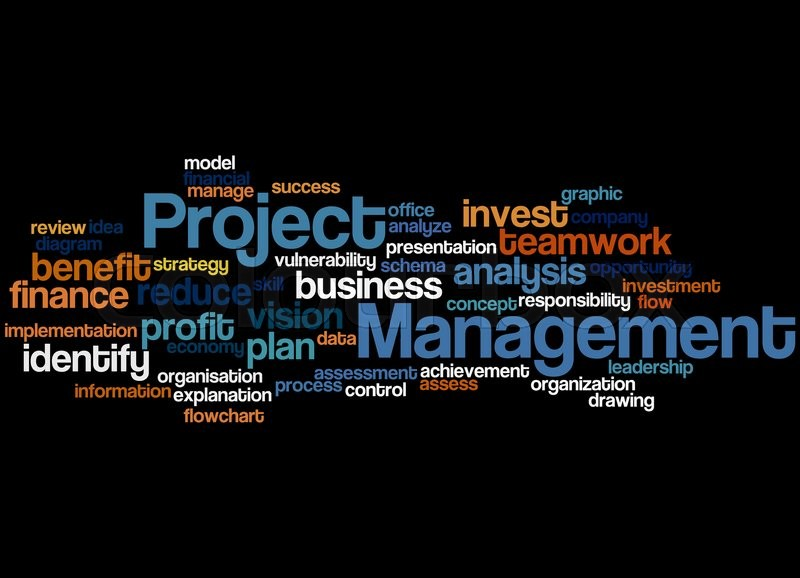 project management  word cloud concept on black background