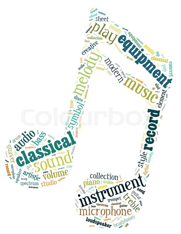music note word cloud concept on white background stock photo