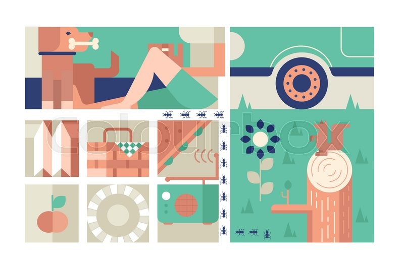 Picnic design flat concept. Outdoor summer recreation and tourism rest in park, vector illustration, vector