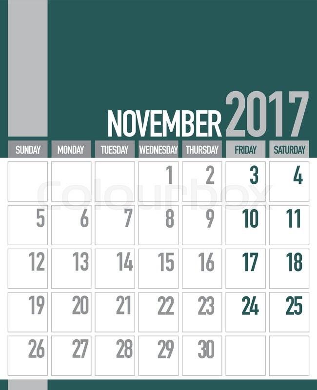November 2017 Business Planner Calendar | Stock Vector | Colourbox