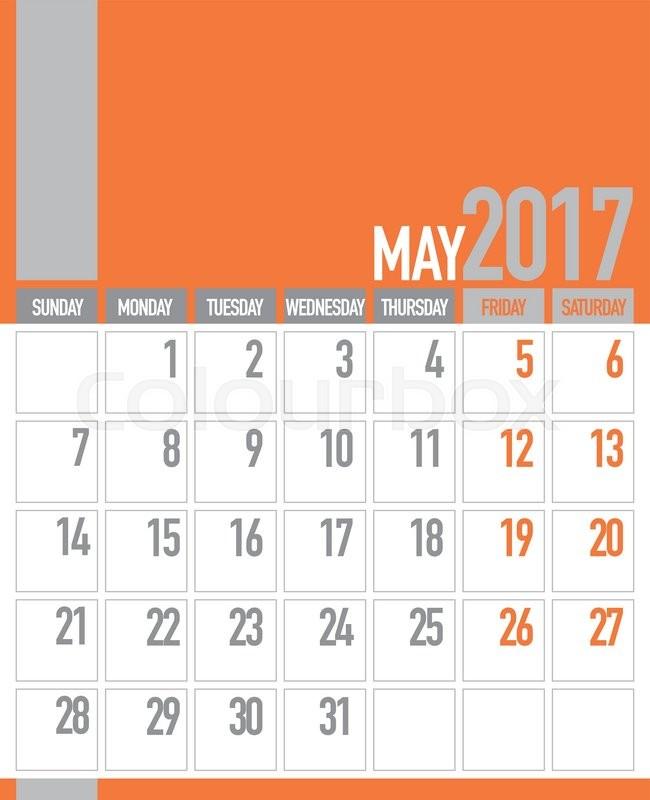 may 2017 business planner calendar stock vector colourbox