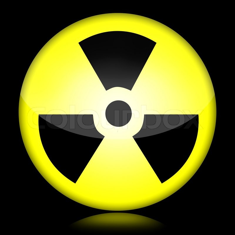 Radioactive Symbol Isolated Over Black Background Stock Photo